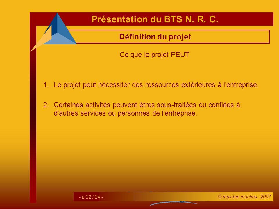 Définition du projet Ce que le projet PEUT