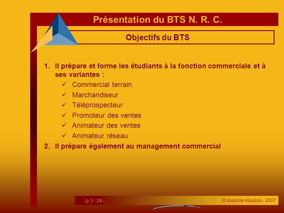 Objectifs du BTS Il prépare et forme les étudiants à la fonction commerciale et à ses variantes : Commercial terrain.