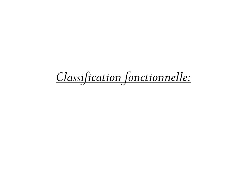 Classification fonctionnelle: