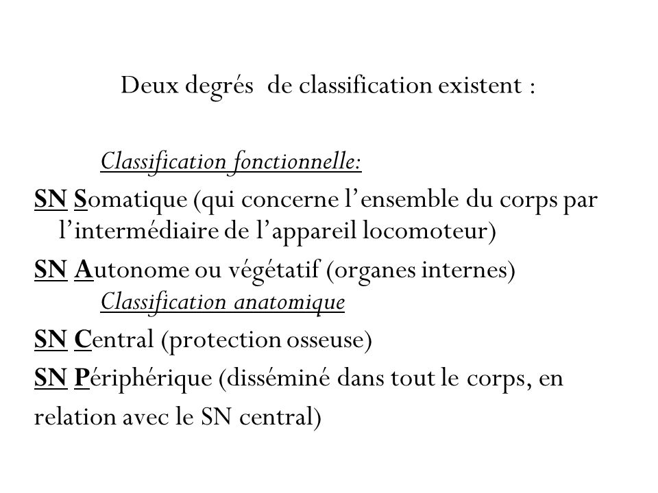 Deux degrés de classification existent :