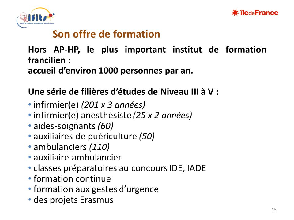 Hors AP-HP, le plus important institut de formation francilien :