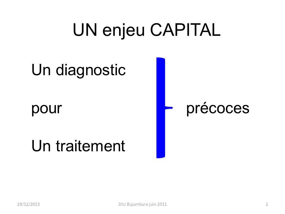 UN enjeu CAPITAL Un diagnostic pour précoces Un traitement 25/03/2017