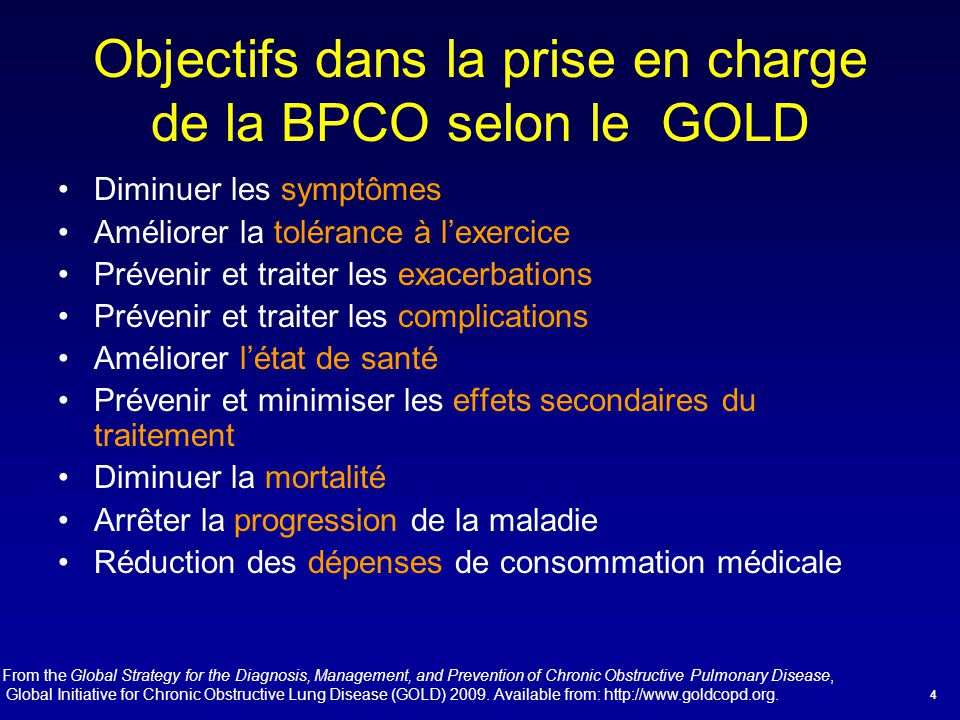 Objectifs dans la prise en charge de la BPCO selon le GOLD