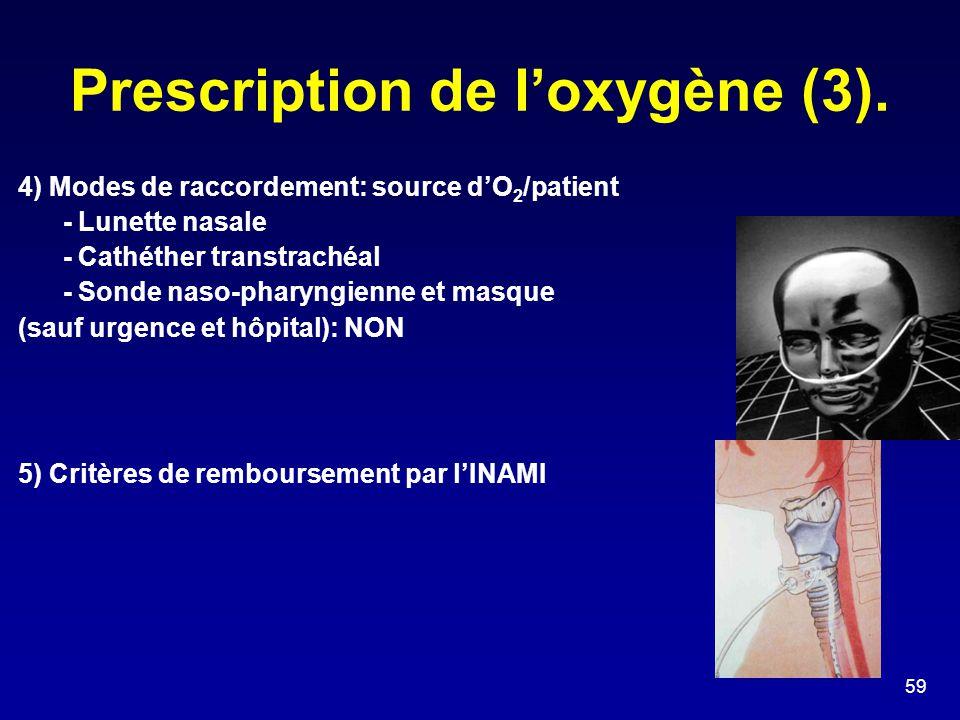 Prescription de l'oxygène (3).