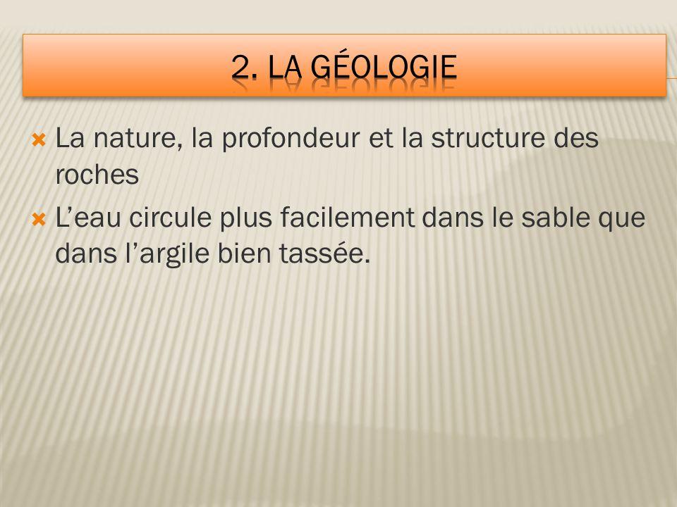 2. la géologie La nature, la profondeur et la structure des roches