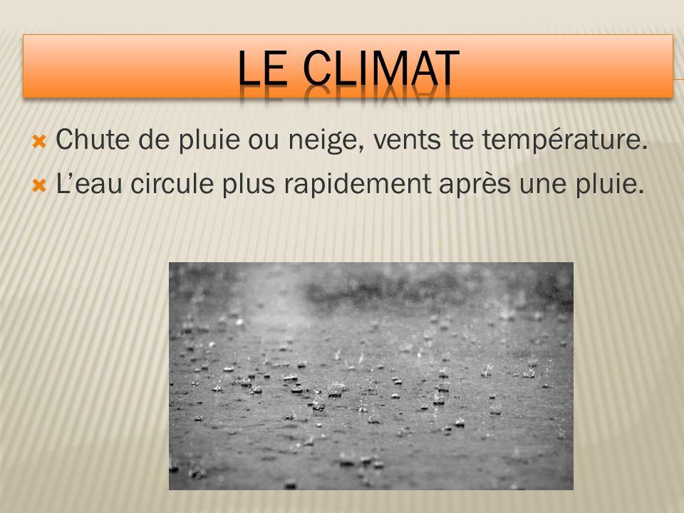 Le climat Chute de pluie ou neige, vents te température.