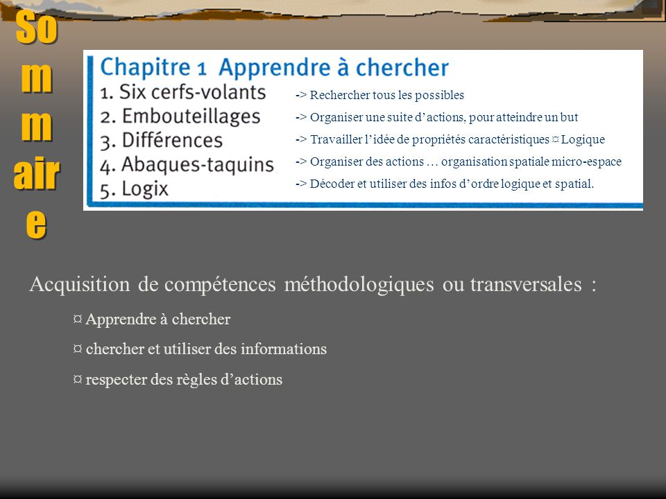 Sommaire Acquisition de compétences méthodologiques ou transversales :