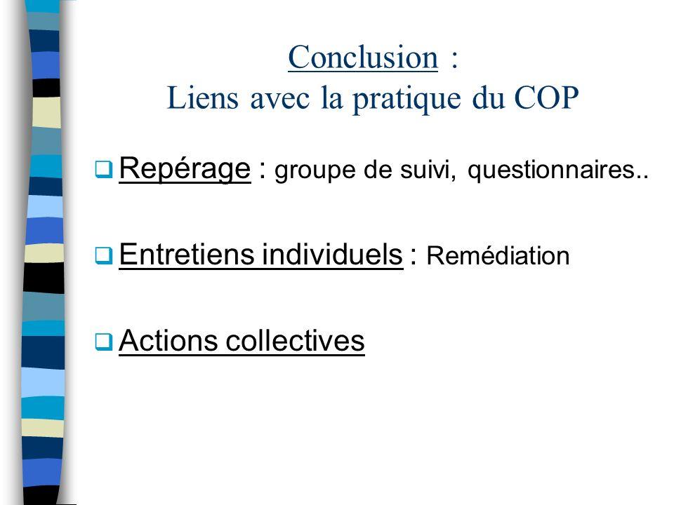 Conclusion : Liens avec la pratique du COP
