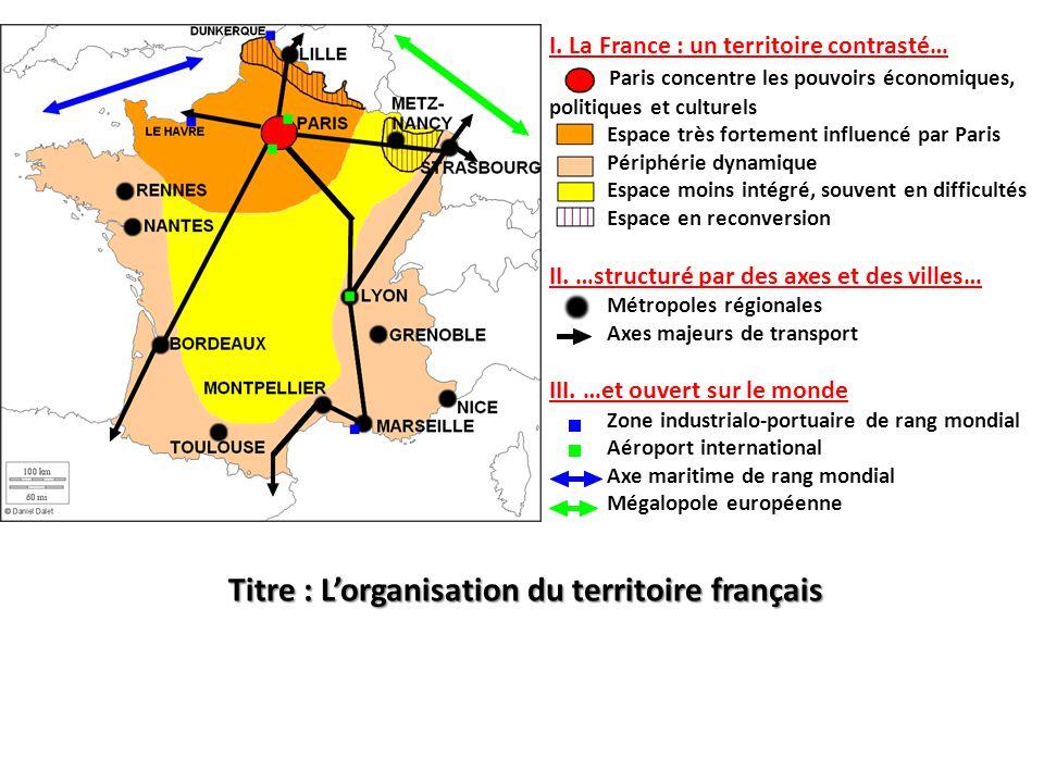 Titre : L'organisation du territoire français