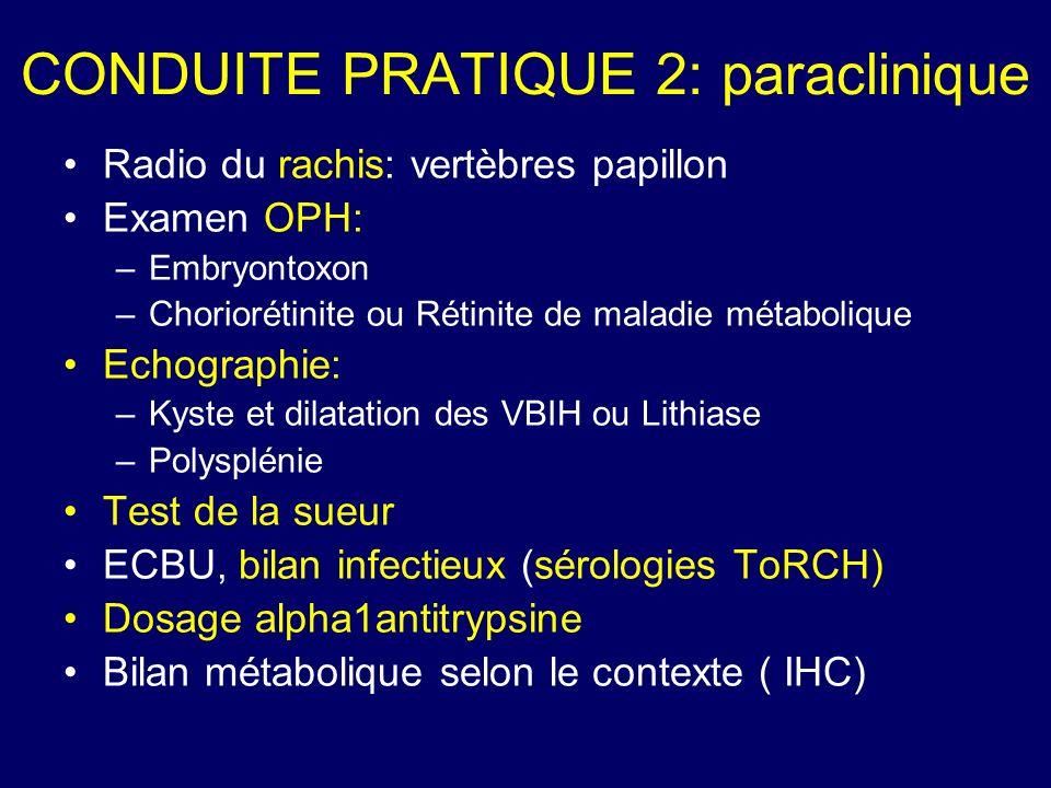CONDUITE PRATIQUE 2: paraclinique