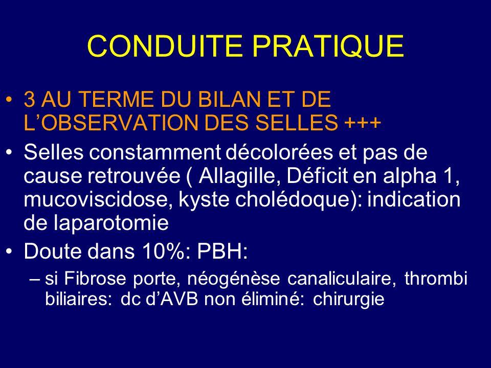 CONDUITE PRATIQUE 3 AU TERME DU BILAN ET DE L'OBSERVATION DES SELLES +++
