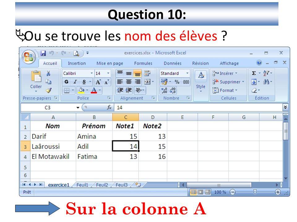 Question 10: Ou se trouve les nom des élèves Sur la colonne A