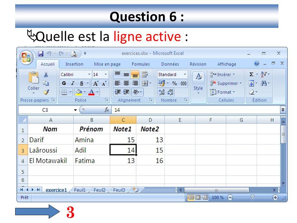Question 6 : Quelle est la ligne active : 3