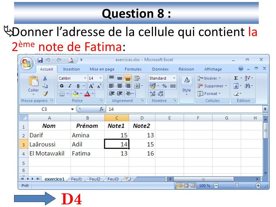 Question 8 : Donner l'adresse de la cellule qui contient la 2ème note de Fatima: D4