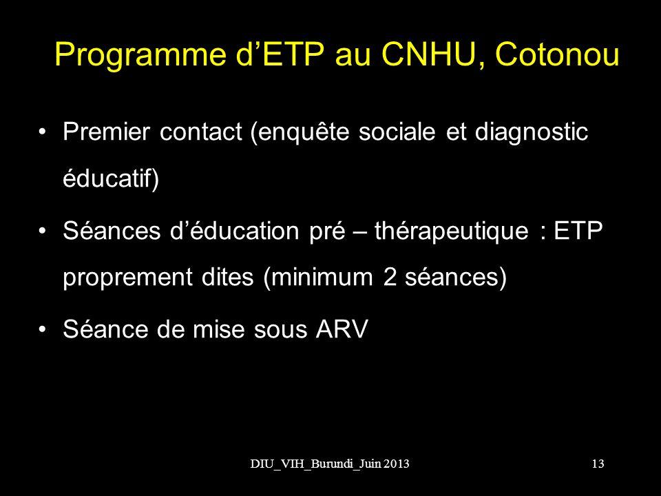 Programme d'ETP au CNHU, Cotonou