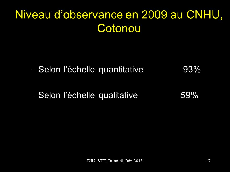 Niveau d'observance en 2009 au CNHU, Cotonou
