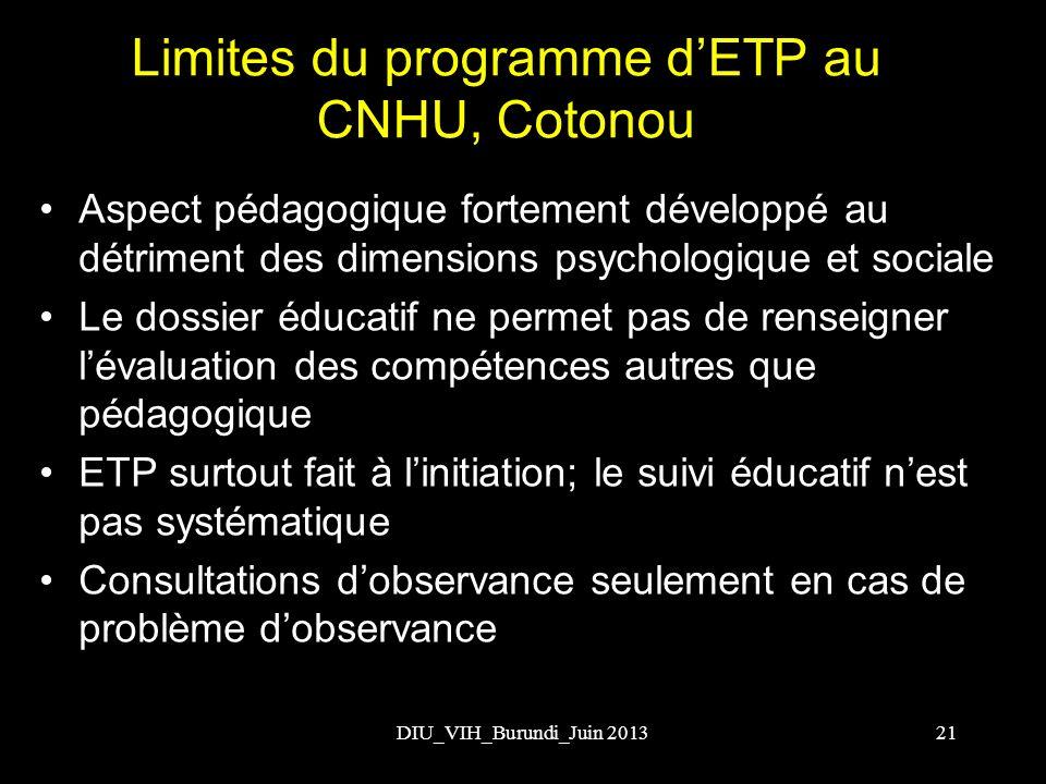 Limites du programme d'ETP au CNHU, Cotonou