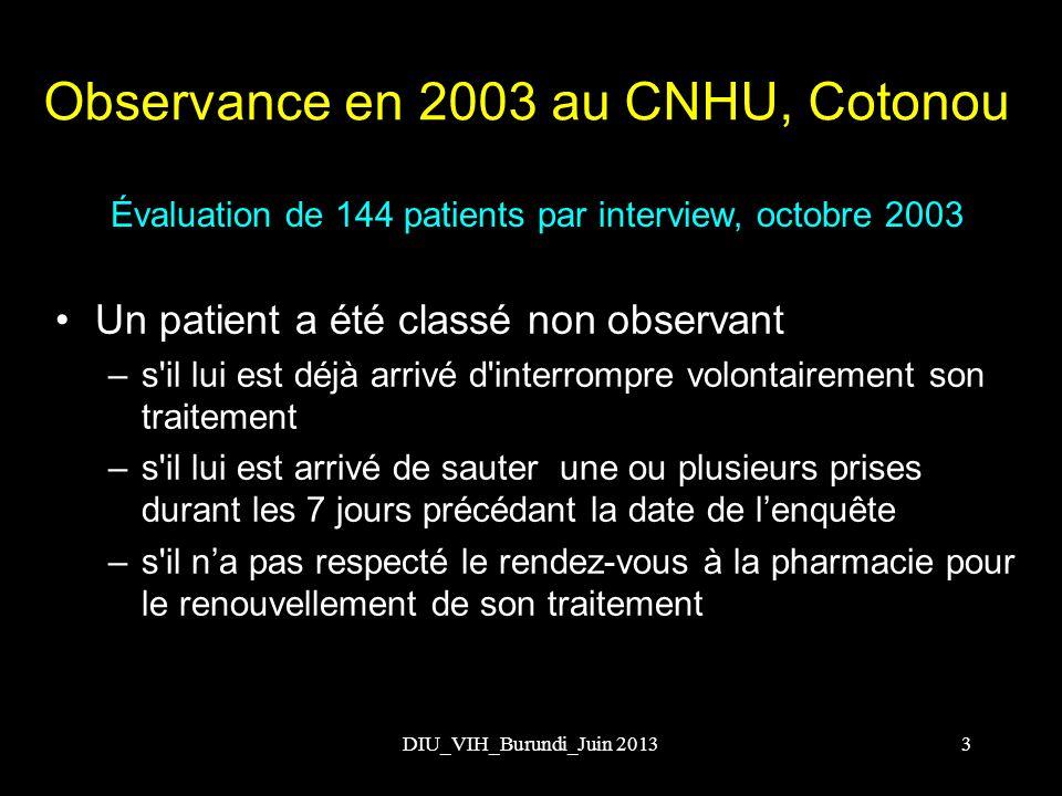 Observance en 2003 au CNHU, Cotonou
