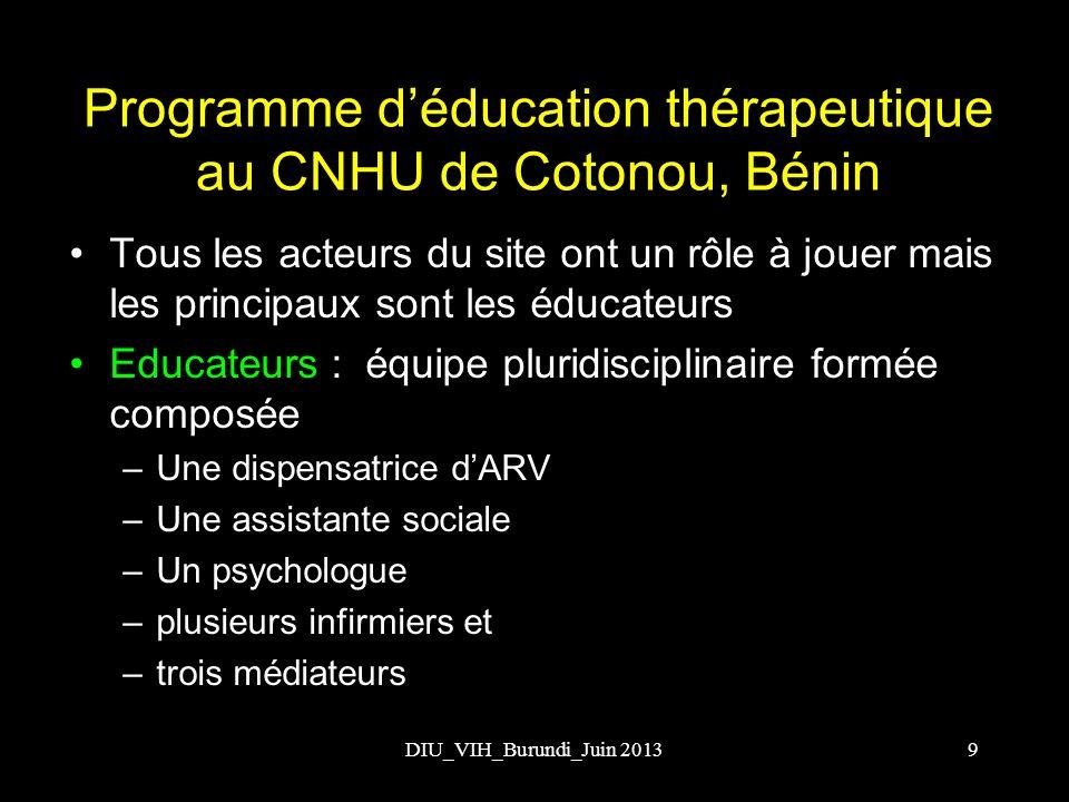 Programme d'éducation thérapeutique au CNHU de Cotonou, Bénin