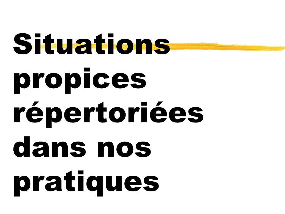 Situations propices répertoriées dans nos pratiques