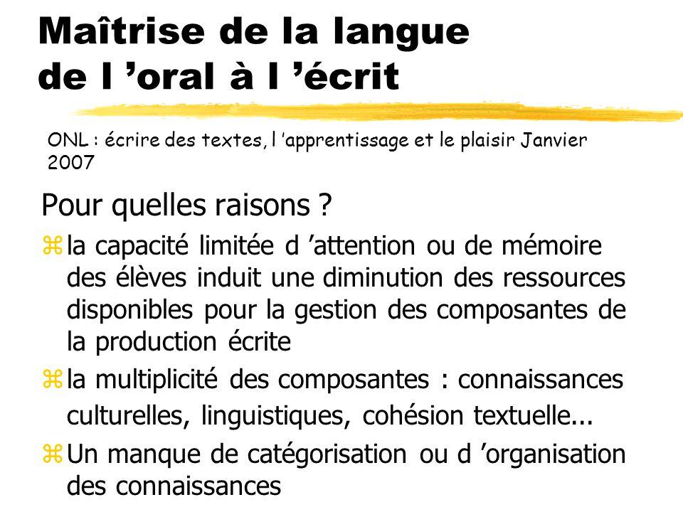Maîtrise de la langue de l 'oral à l 'écrit