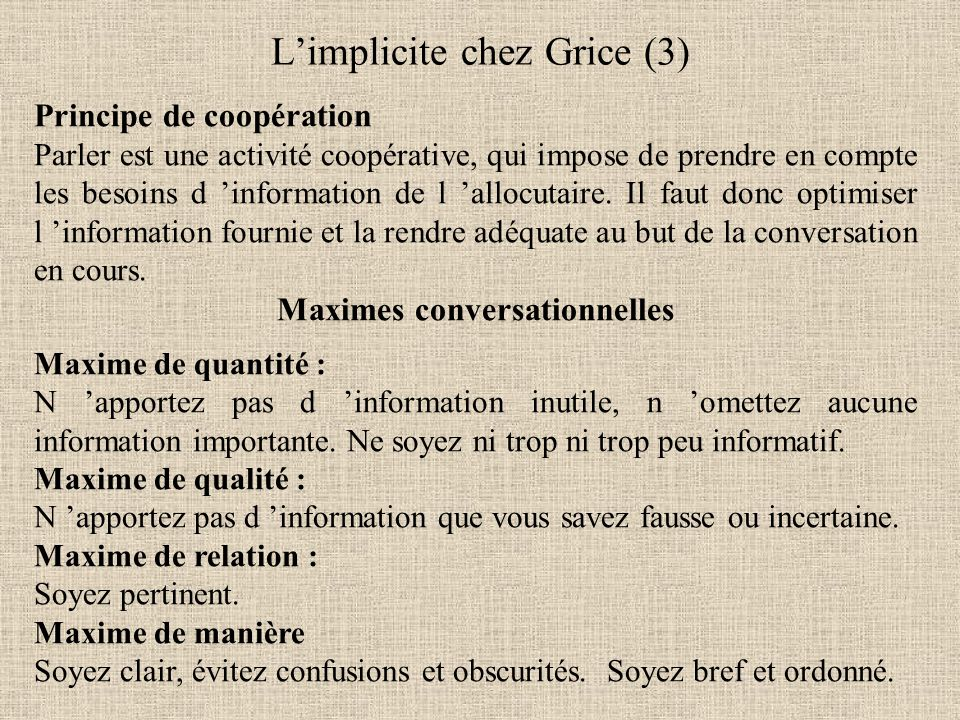 L'implicite chez Grice (3)