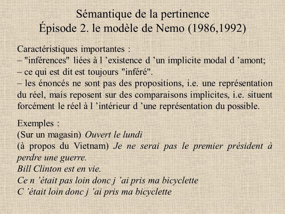 Sémantique de la pertinence Épisode 2. le modèle de Nemo (1986,1992)