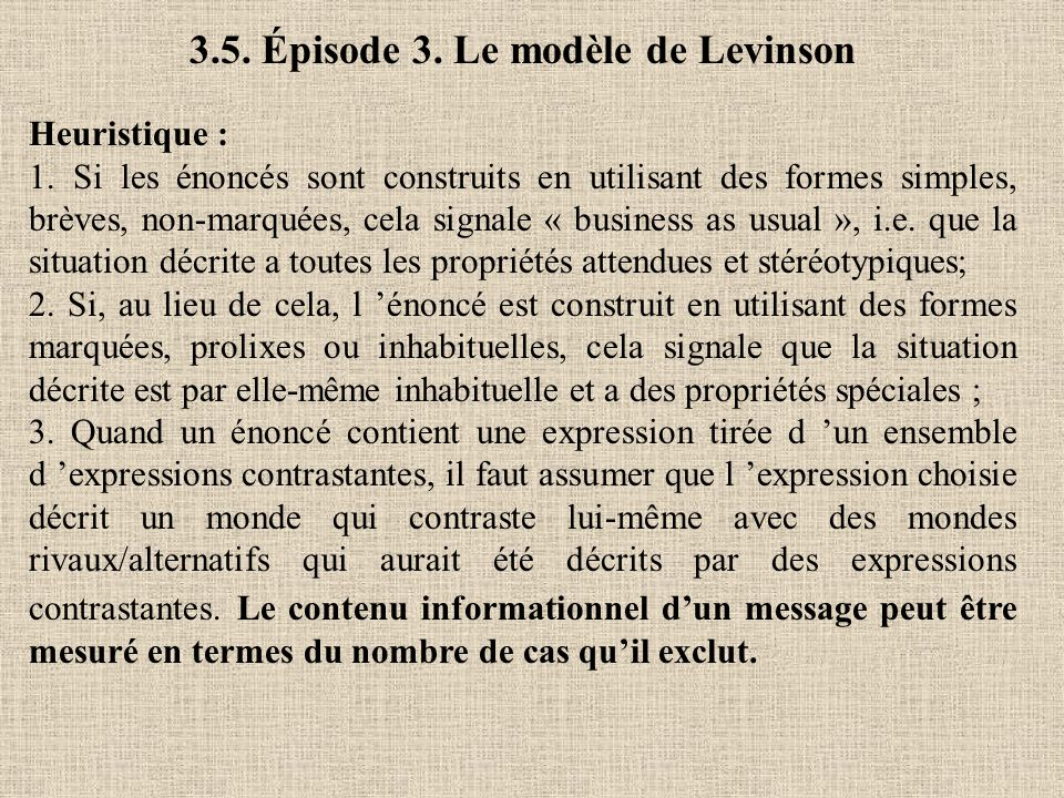 3.5. Épisode 3. Le modèle de Levinson