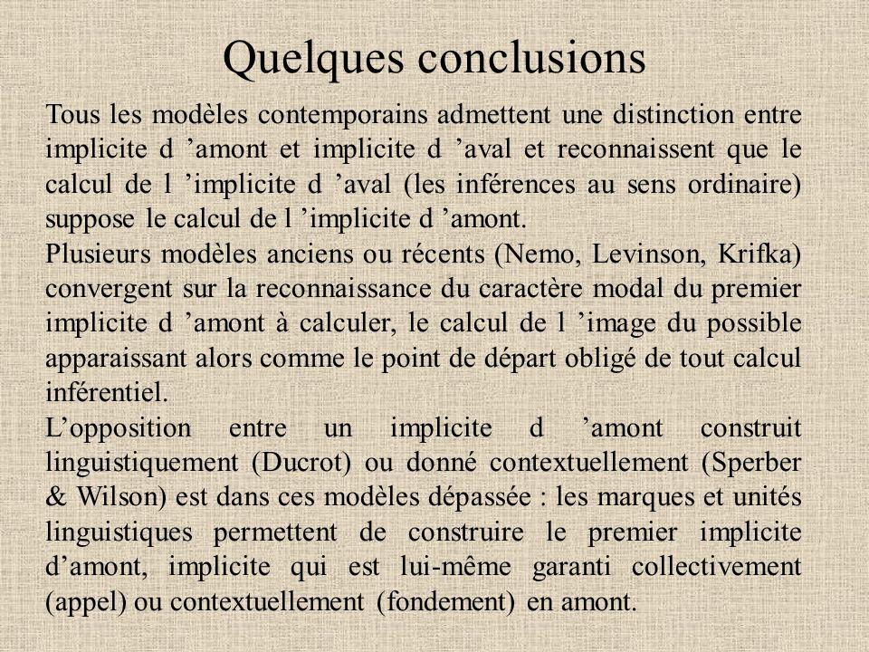 Quelques conclusions