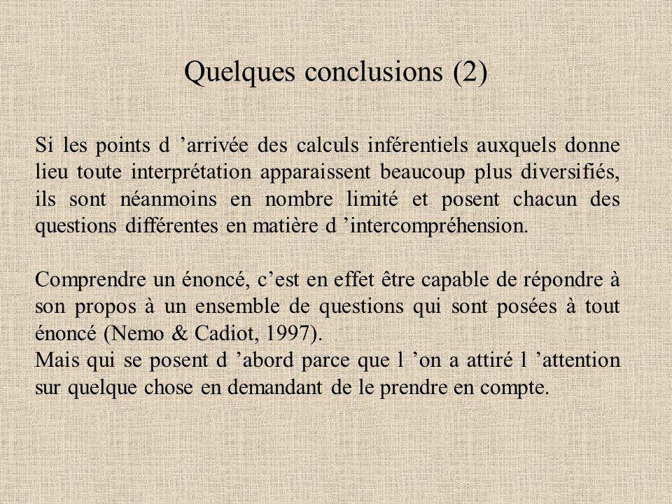 Quelques conclusions (2)