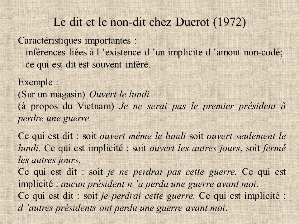 Le dit et le non-dit chez Ducrot (1972)