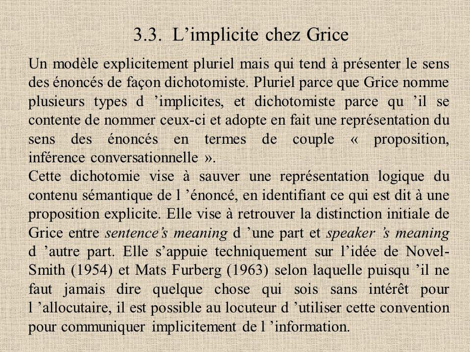 3.3. L'implicite chez Grice