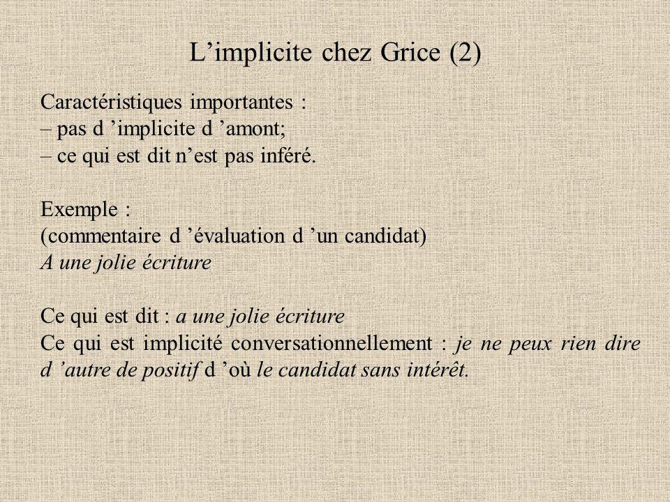 L'implicite chez Grice (2)