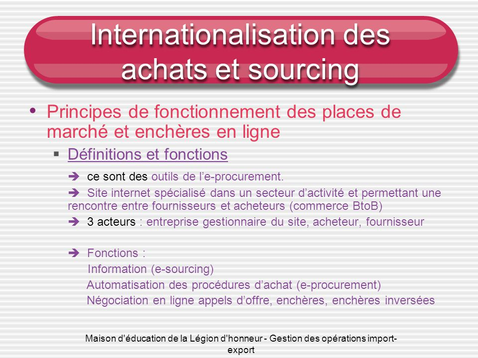 Internationalisation des achats et sourcing