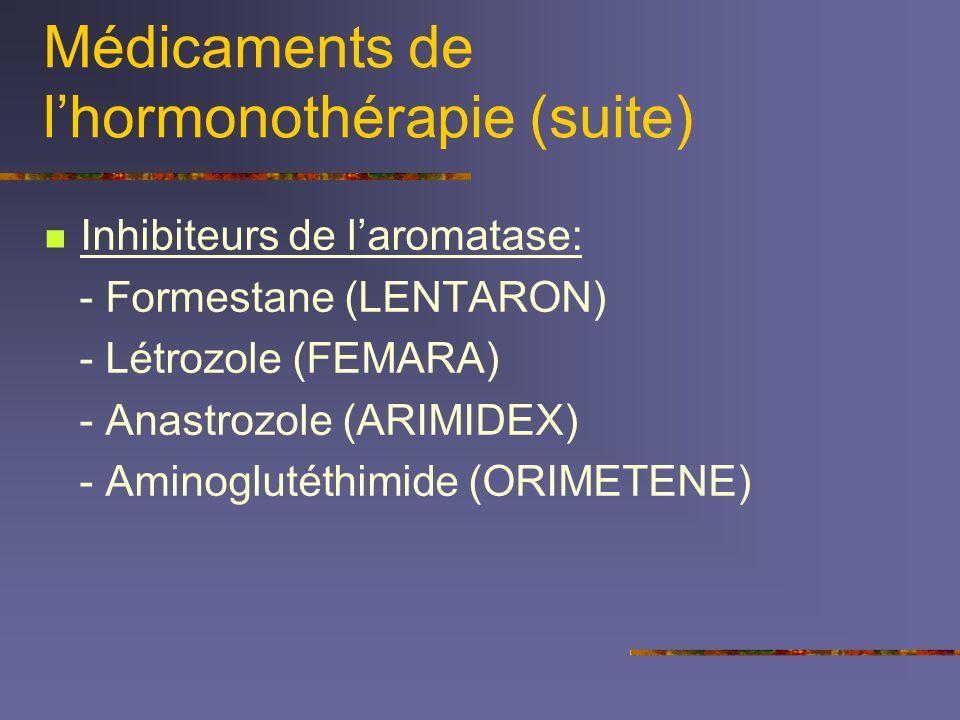Médicaments de l'hormonothérapie (suite)