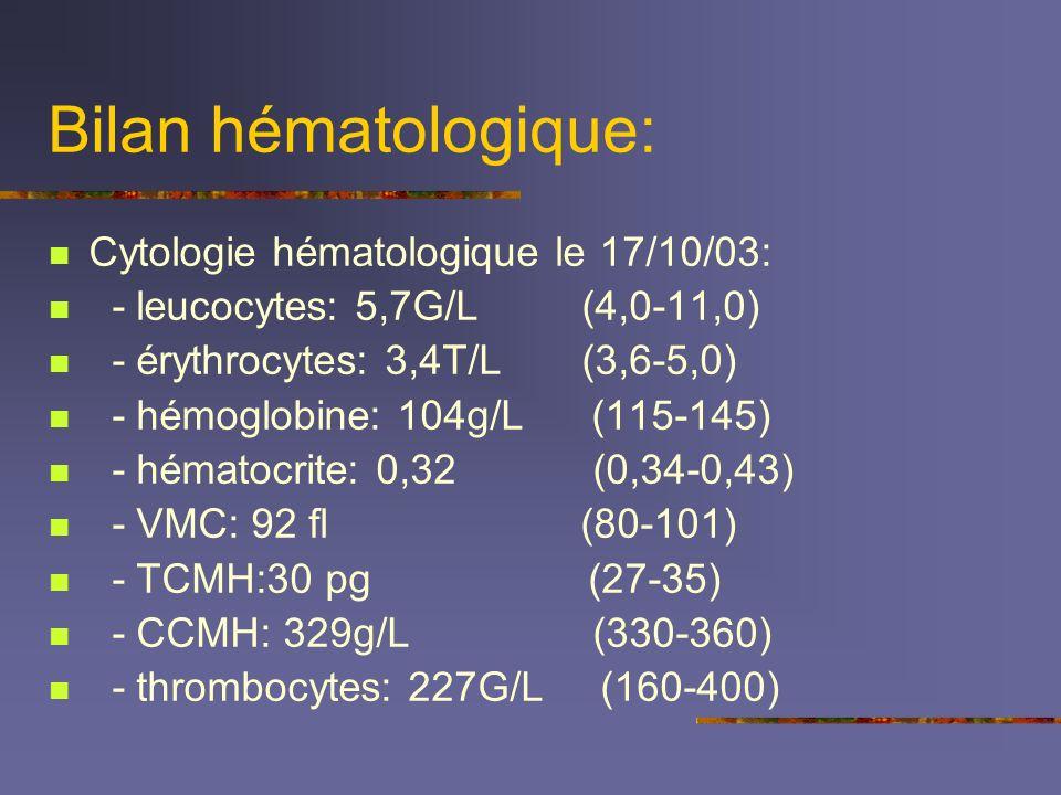 Bilan hématologique: Cytologie hématologique le 17/10/03: