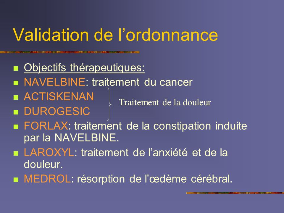 Validation de l'ordonnance
