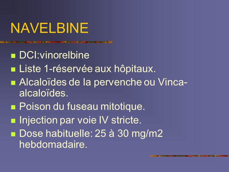 NAVELBINE DCI:vinorelbine Liste 1-réservée aux hôpitaux.