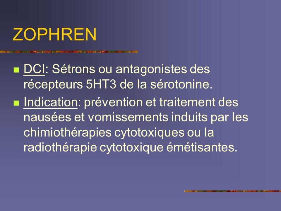 ZOPHREN DCI: Sétrons ou antagonistes des récepteurs 5HT3 de la sérotonine.