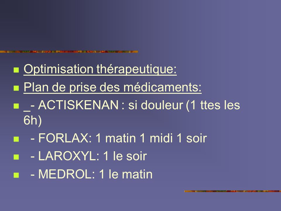 Optimisation thérapeutique:
