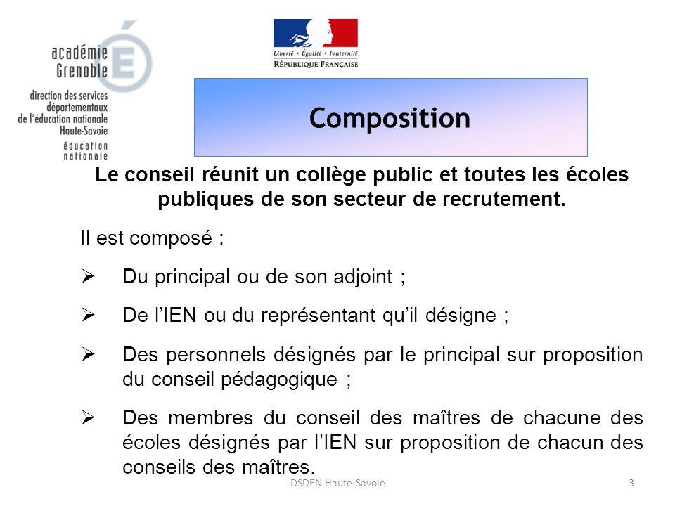 Composition Le conseil réunit un collège public et toutes les écoles publiques de son secteur de recrutement.