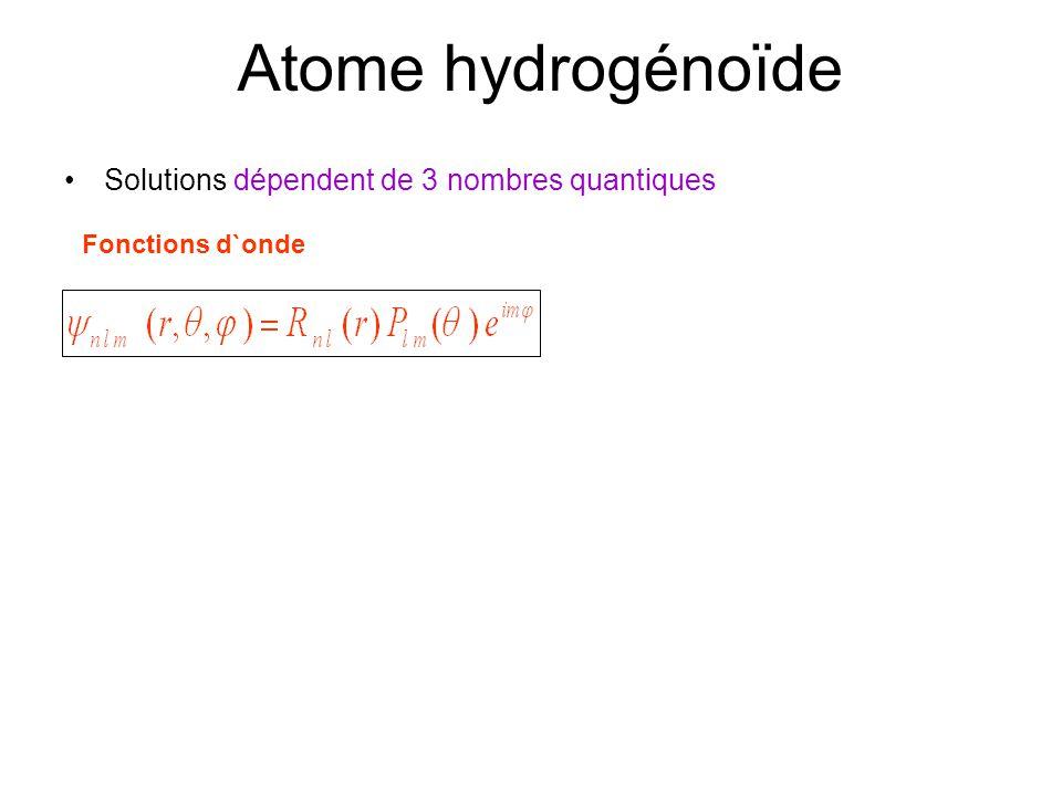 Atome hydrogénoïde Solutions dépendent de 3 nombres quantiques