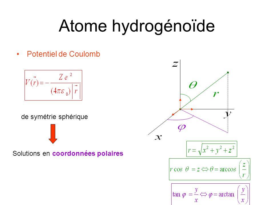 Atome hydrogénoïde Potentiel de Coulomb de symétrie sphérique