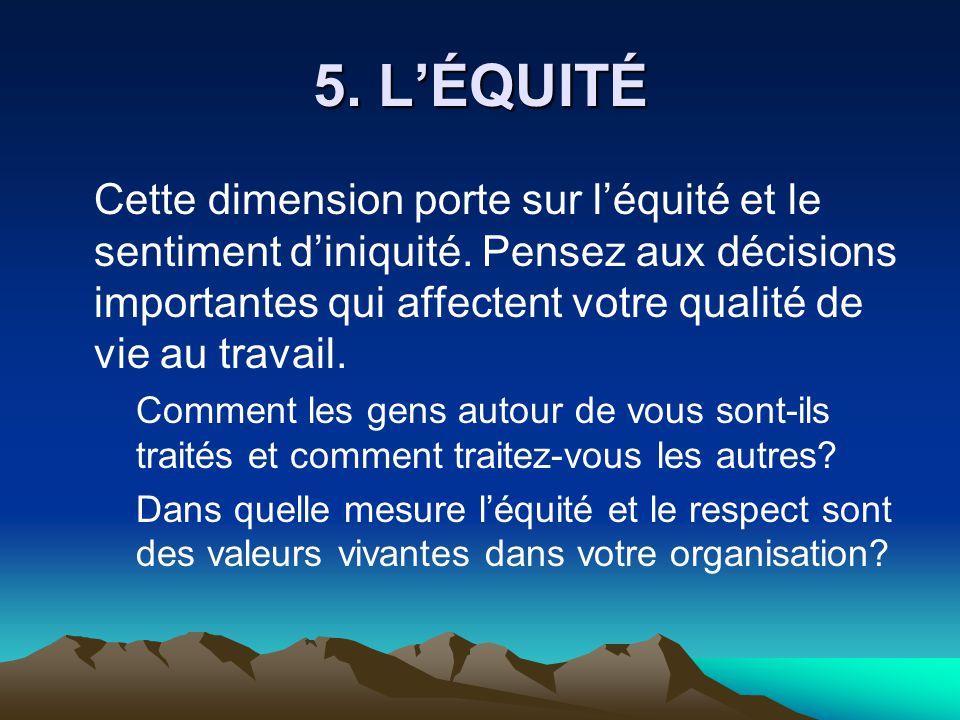5. L'ÉQUITÉ