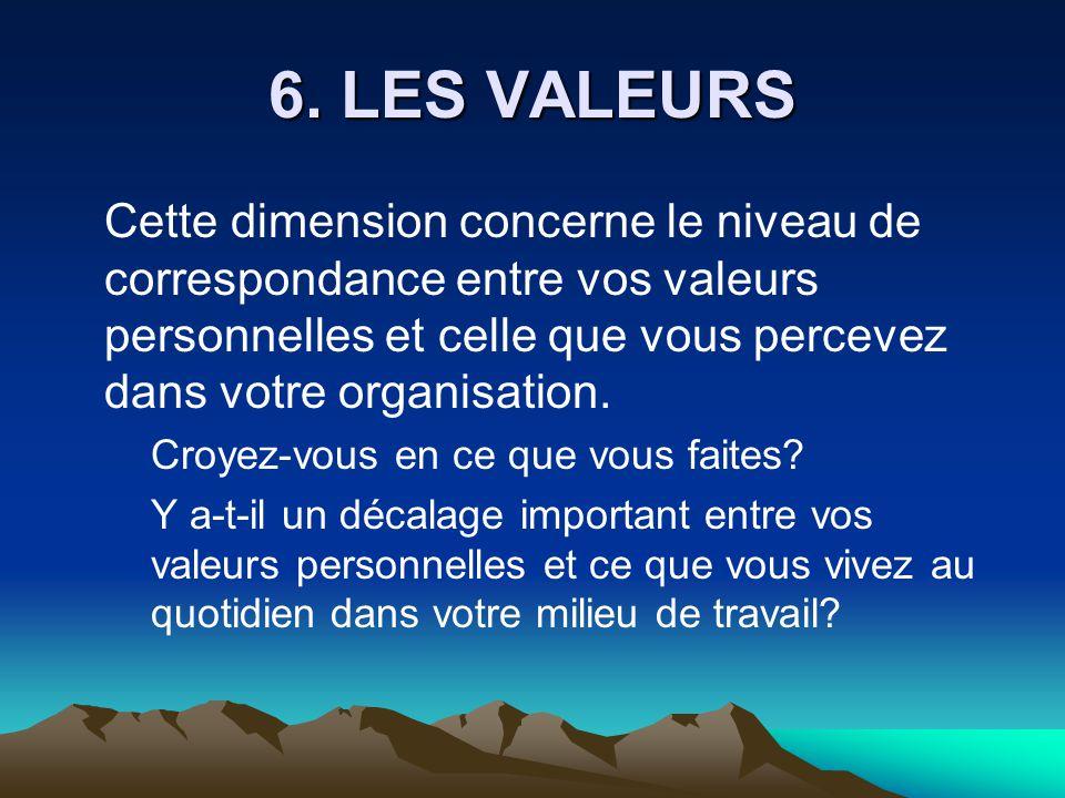 6. LES VALEURS