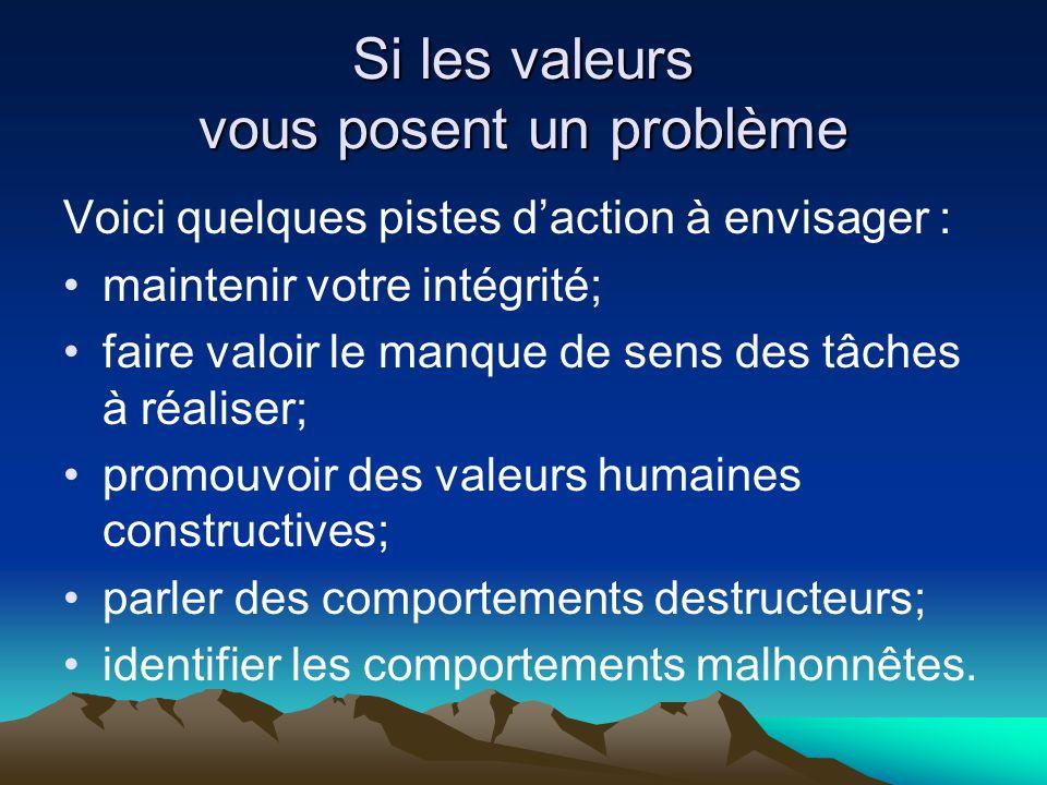 Si les valeurs vous posent un problème