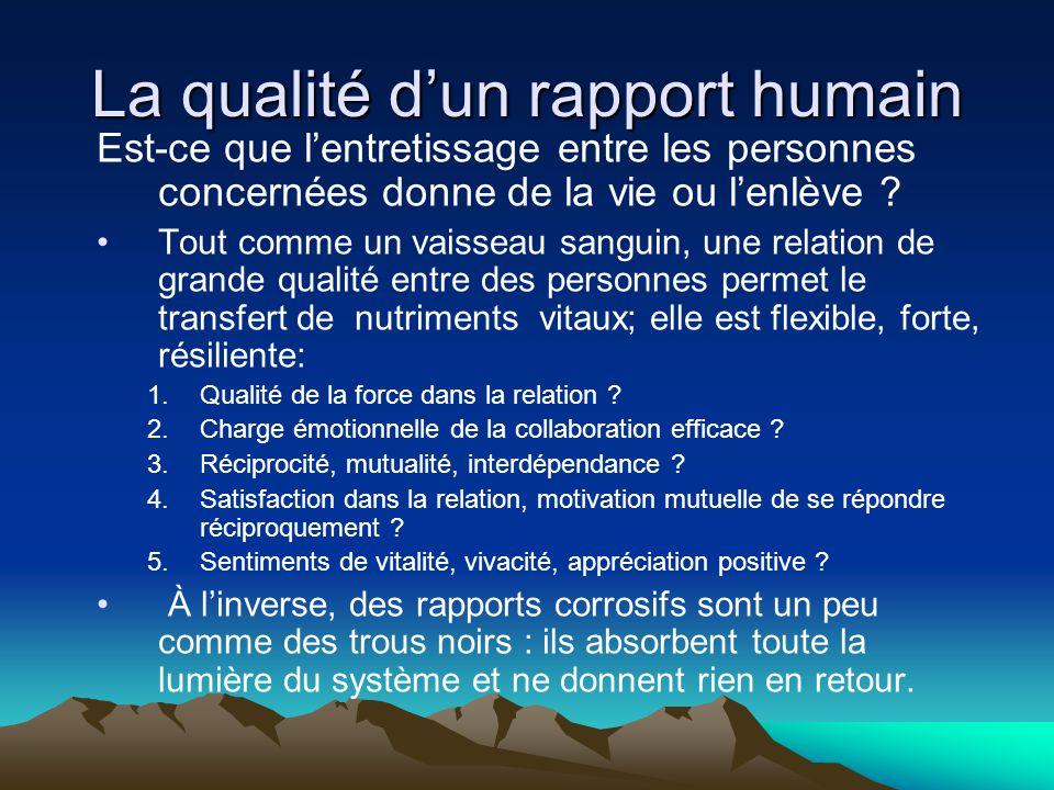 La qualité d'un rapport humain