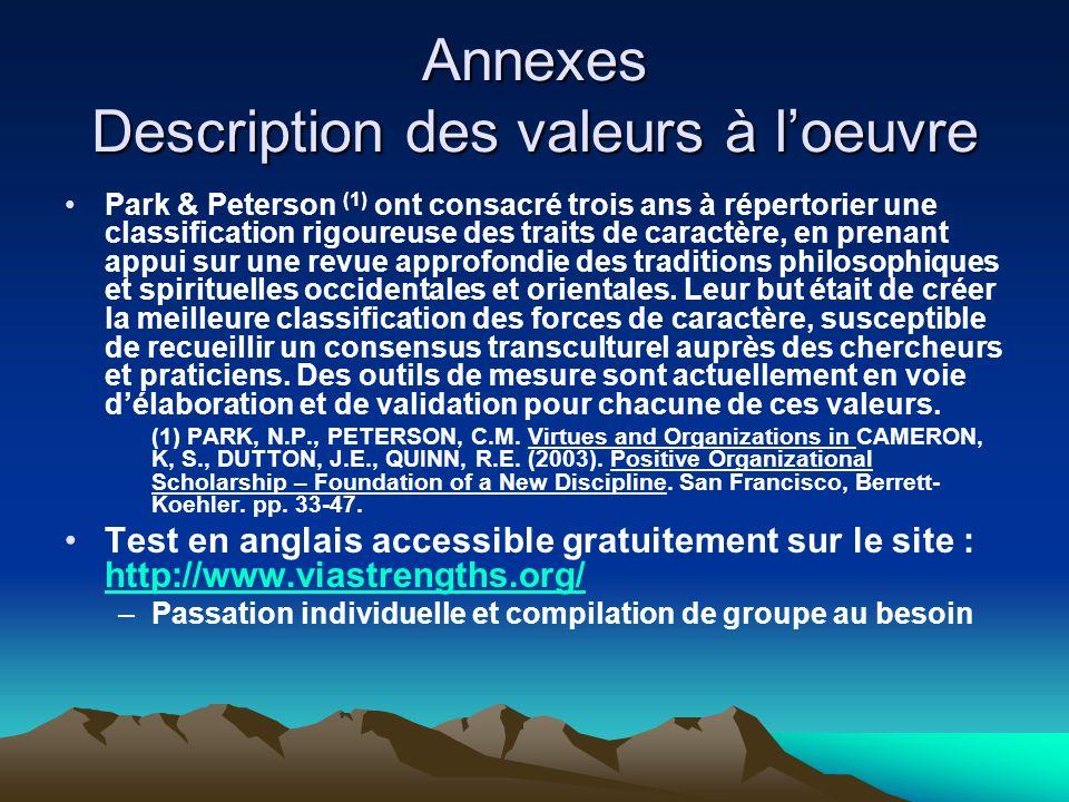 Annexes Description des valeurs à l'oeuvre