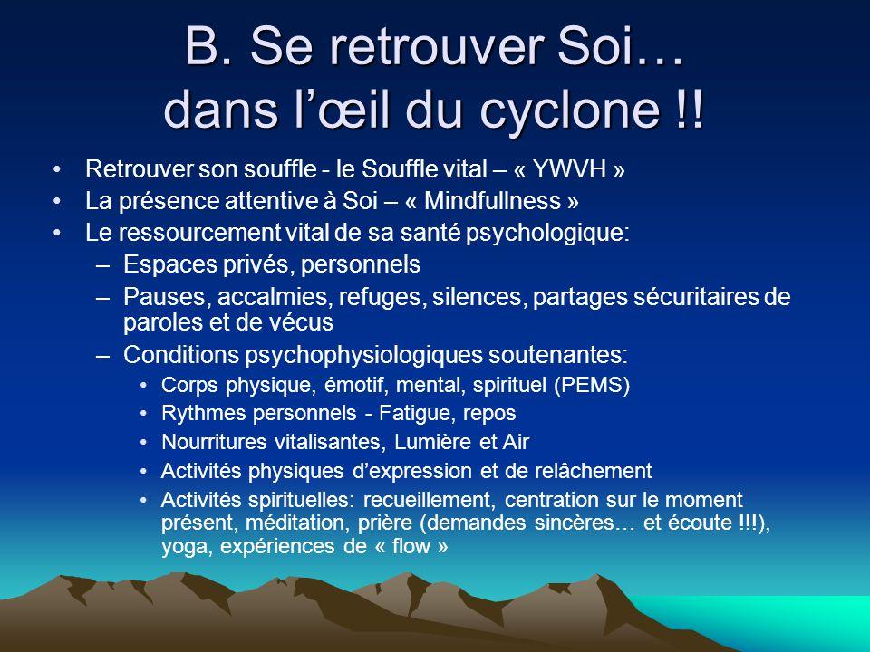 B. Se retrouver Soi… dans l'œil du cyclone !!