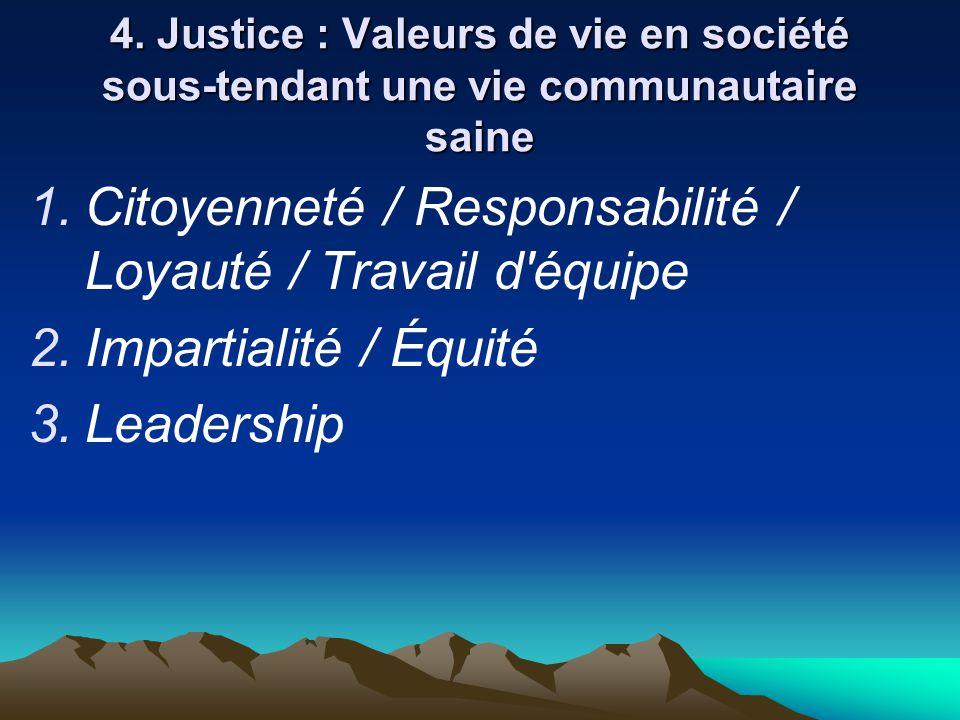 Citoyenneté / Responsabilité / Loyauté / Travail d équipe